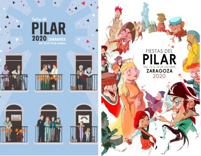 Los dos carteles de fiestas del Pilar 2020 que han logrado el accesit.