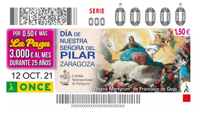 Imagen del cupón de la ONCE del día 12 de octubre, con un detalle de 'Regina Martyrum' de Francisco de Goya de la Basílica del Pilar.
