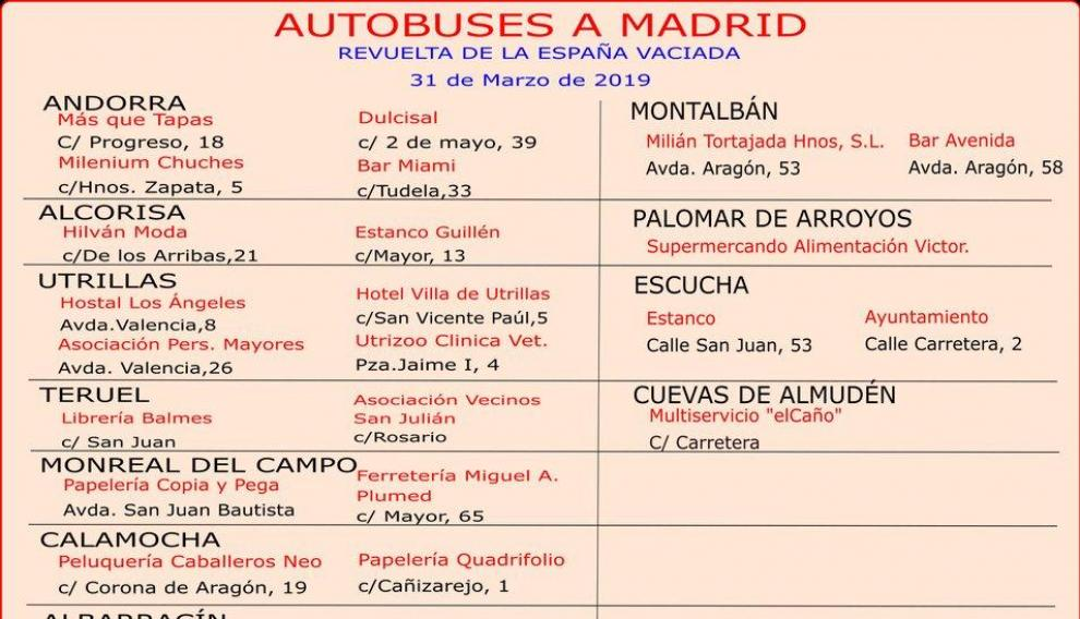 Puntos de salida y venta de billetes en Teruel para los autobuses a la Revuelta de la España Vaciada.
