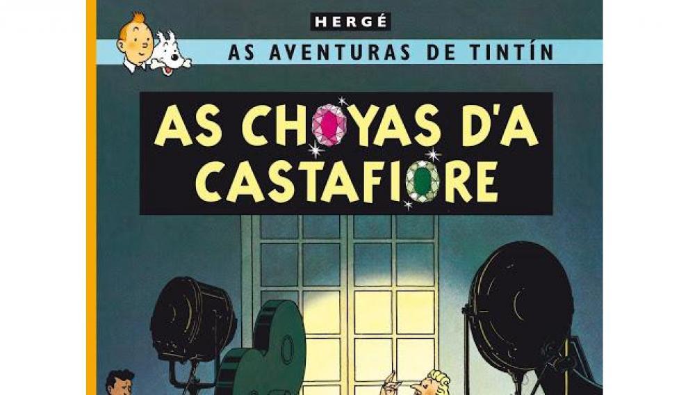 Portada del cómic 'As choyas d'a Castafiore', en aragonés.