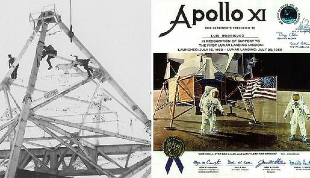 Obreros trabajando en la antena y diploma que entregó la NASA a Luis Rodríguez por su participación en la misión Apolo XI.
