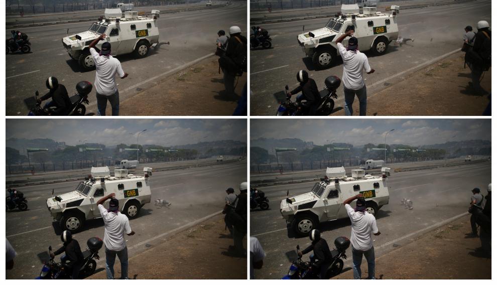 Un tanqueta atropella a un manifestante cerca de la base de La Carlota