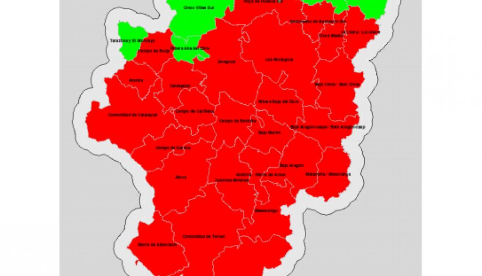 Índice de riesgos de incendios en Aragón