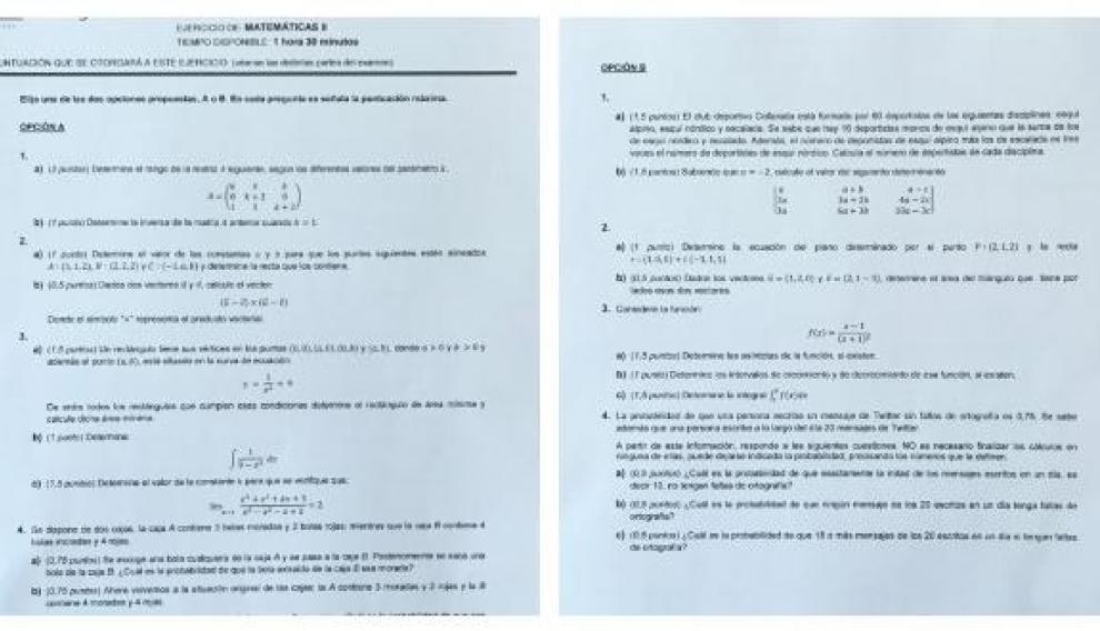 Este es el examen de Matemáticas que han hecho los aragoneses en selectividad 2019.