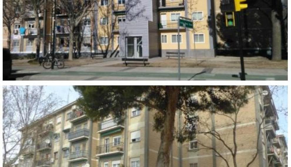 Rehabilitación de viviendas con instalación de ascensor en la calle de Peña Oroel, en Zaragoza.