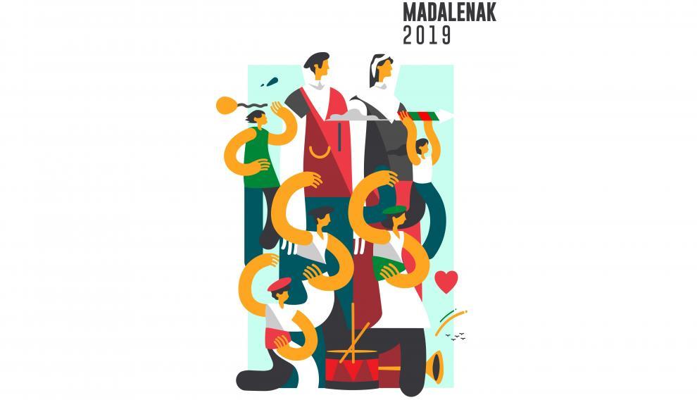 El cartel 'Madalenak S' diseñado por el zaragozano Samuel Akinfenwa
