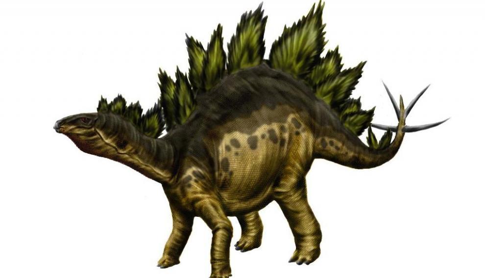 Recreación de un estegosaurus, cuyas huellas pueden verse en el yacimiento de El Castellar.