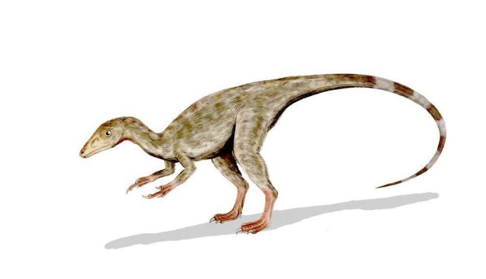 Dibujo de un terópodo, con tres dedos en cada extremidad.