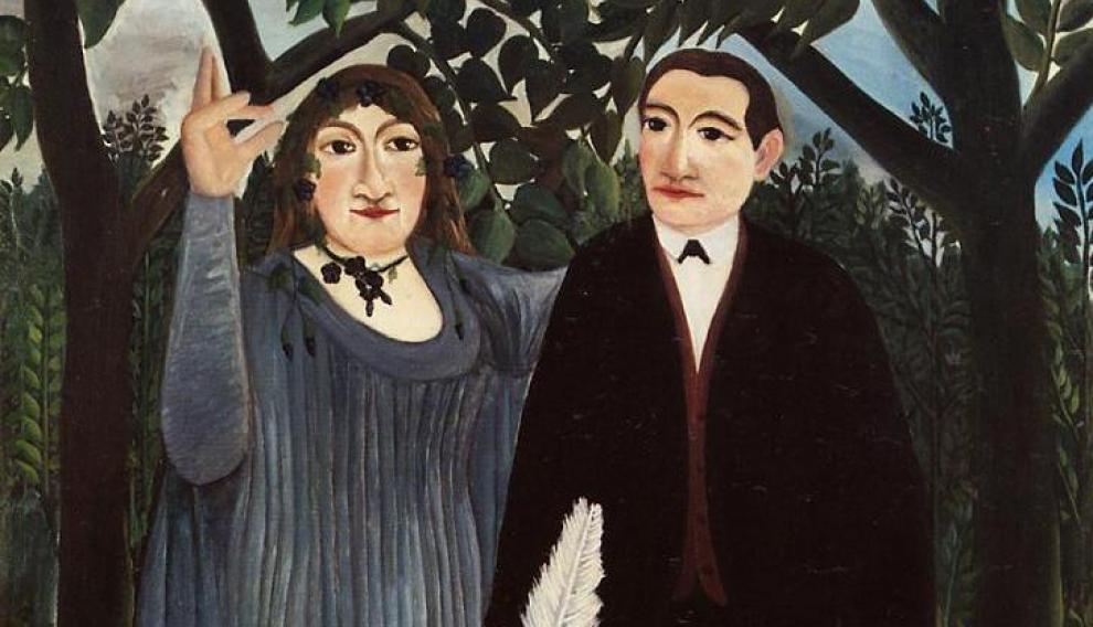La musa inspirando al poeta (Marie Laurencin y Guillaume Apollinaire), Henri Rousseau, 1908