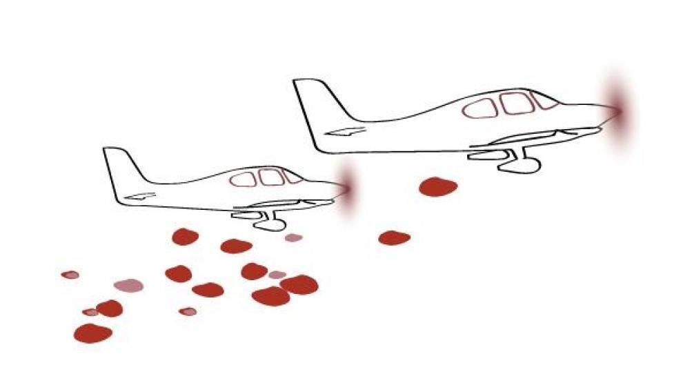 Dibujo de unas avionetas haciendo la ofrenda.