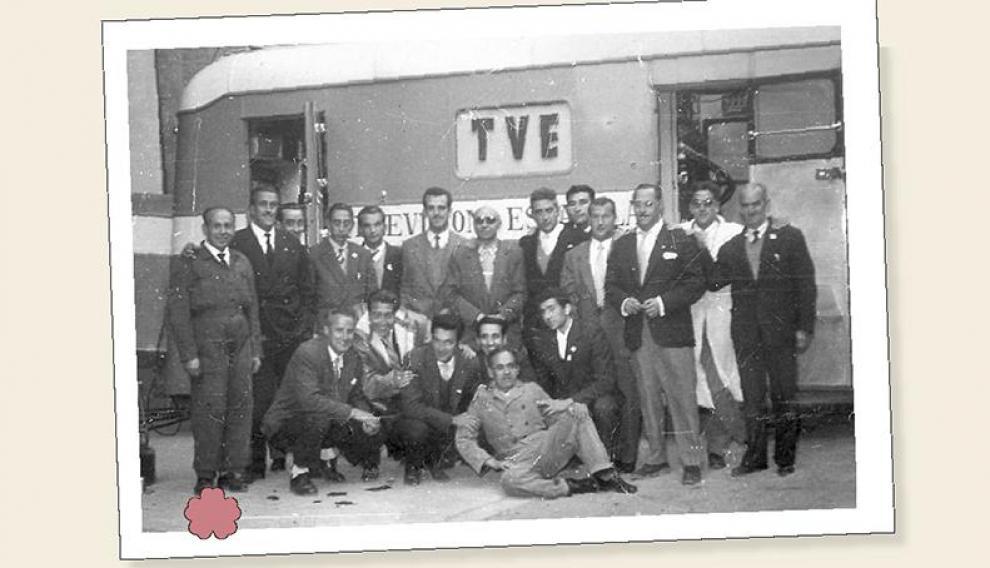 Equipo de RTVE responsable de la retransmisión, en 1958.