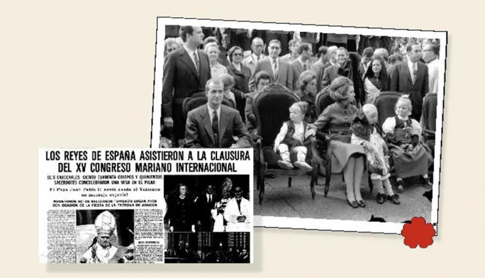 Los entonces Príncipes de España y sus tres hijos asisten a la Ofrenda en 1970. Debajo, recorte del HERALDO del 13 de octubre de 1979. archivo heraldo