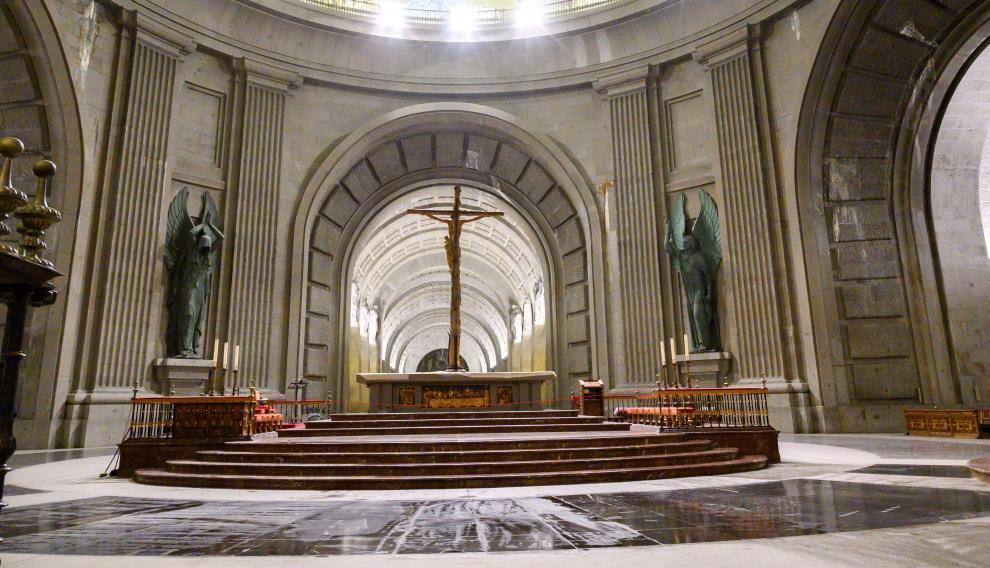 La basílica del Valle de los Caídos, tras las obras realizadas para reponer el solado.