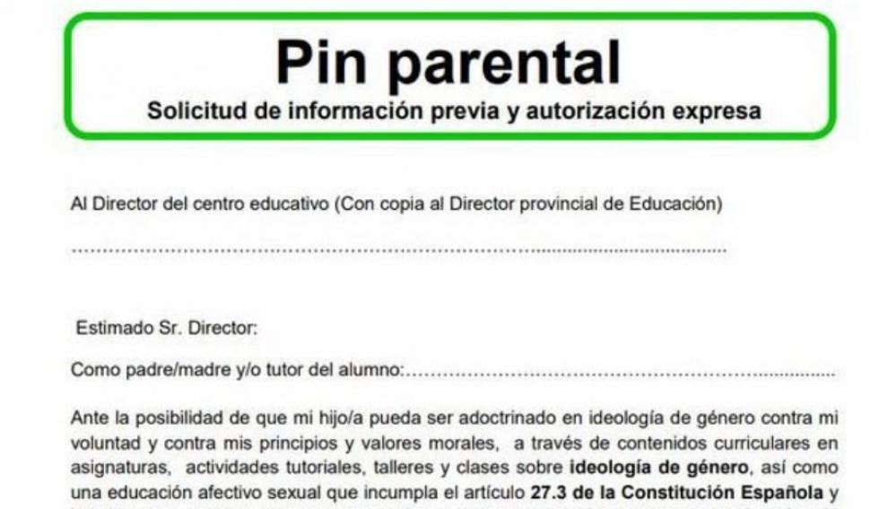 Formulario para autorizar el 'pin parental'.