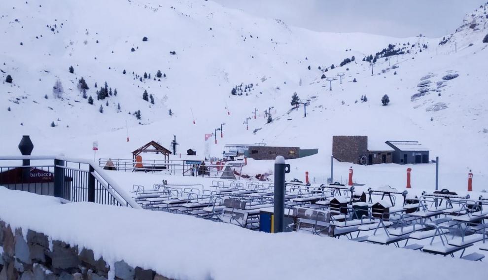 Panorámica de la estación de Cerler de este domingo.