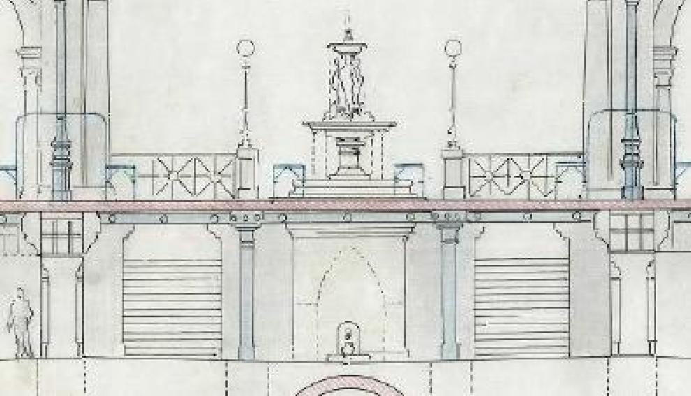 En los planos originales de 1895 aparecía una fuente ornamental en el centro de la lonja.