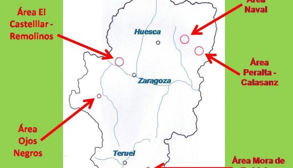 Ubicación de las principales áreas salineras de Aragón (sobre datos de M.L. Torralba (coord.). Gran atlas de Aragón. Aneto, Zaragoza. 1998, p. 91).