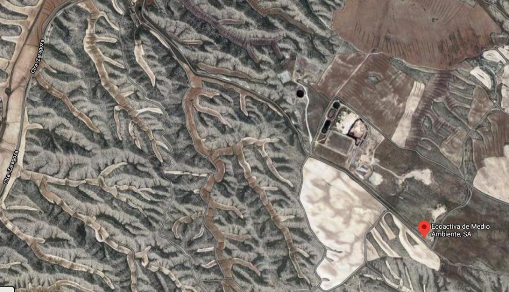 Localización del vertedero Aragersa, a cuatro kilómetros de Torrecilla.