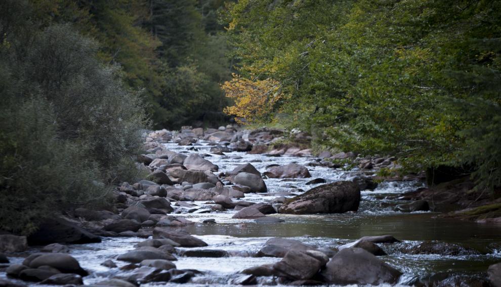 Río Aragón Subordán al paso por el camping Selva de Oza