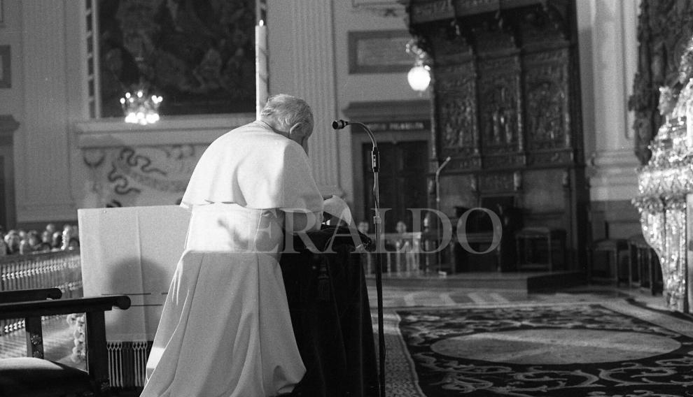 Primera visita del Papa Juan Pablo II a la basílica del Pilar de Zaragoza el 6 de noviembre de 1982