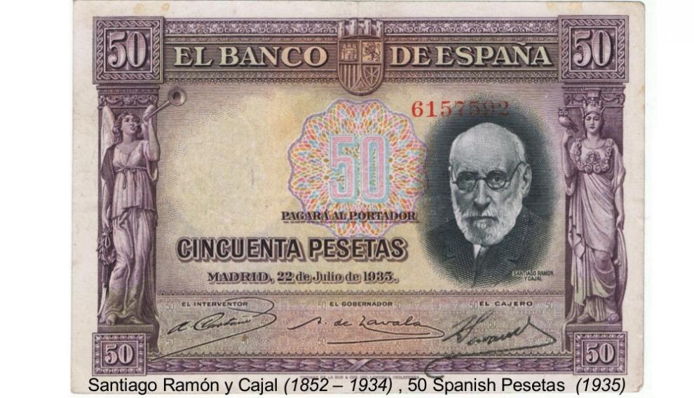 Billete español de 50 pesetas con el rostro de Cajal que entró en vigor en 1935.