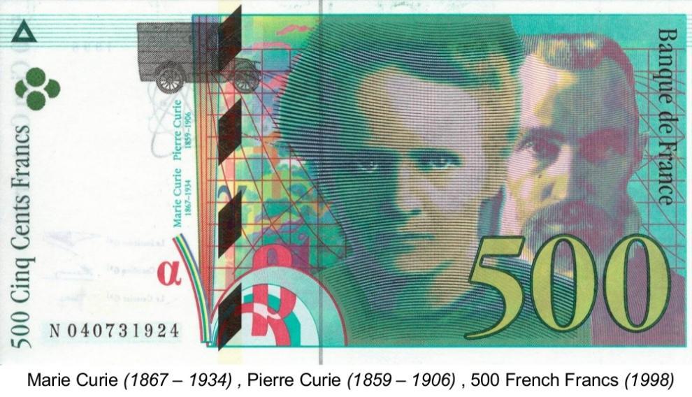 Billete francés dedicado al matrimonio Curie.