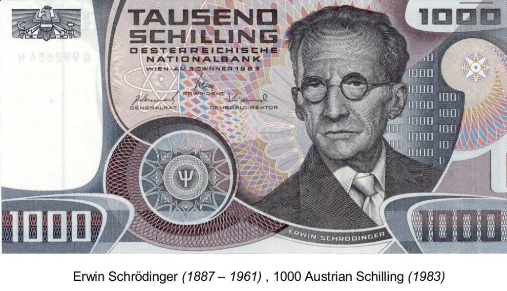 Billete en honor de Schrödinger, con el símbolo de la función de onda.