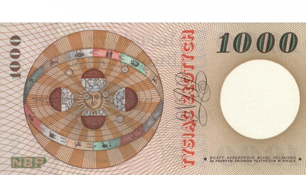 Bello reverso del billete polaco dedicado a Copérnico.
