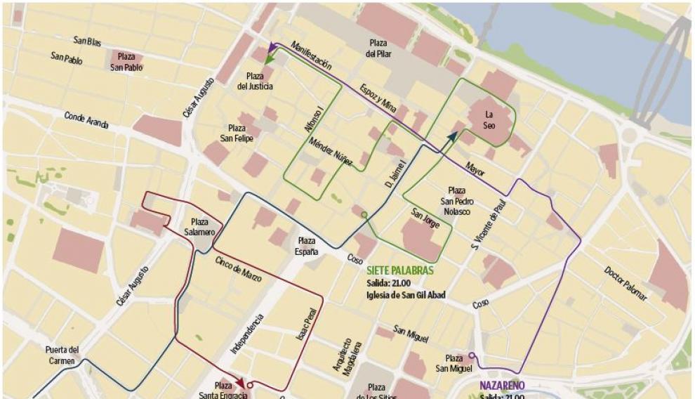 Mapa con el recorrido de las procesiones de Lunes Santo en Zaragoza