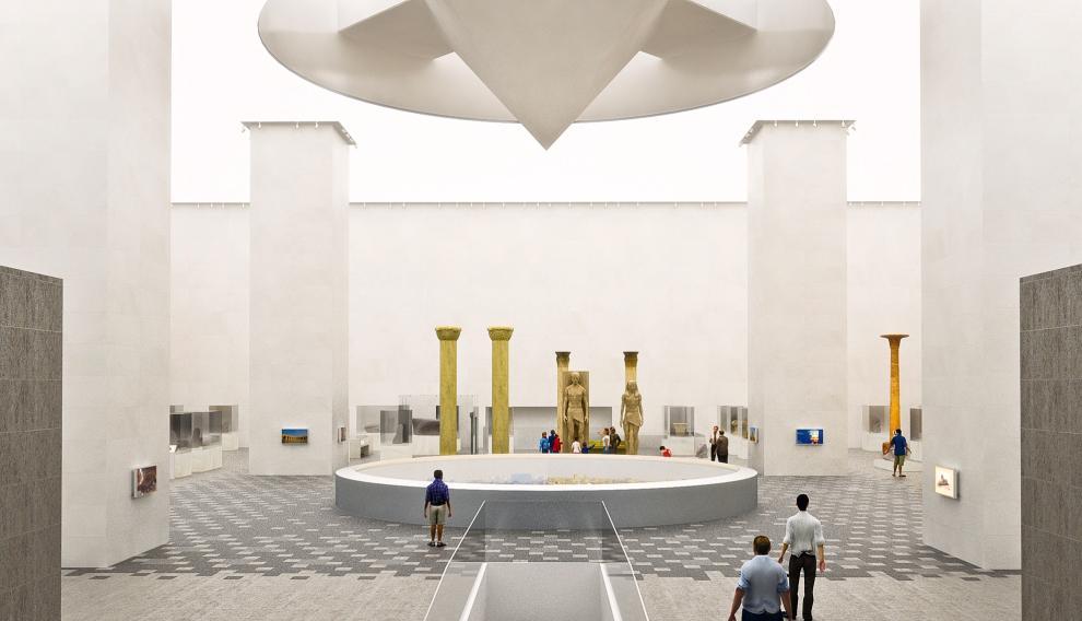 Recreación de la sala donde se instalarán las vitrinas creadas con alabastro de Velilla.