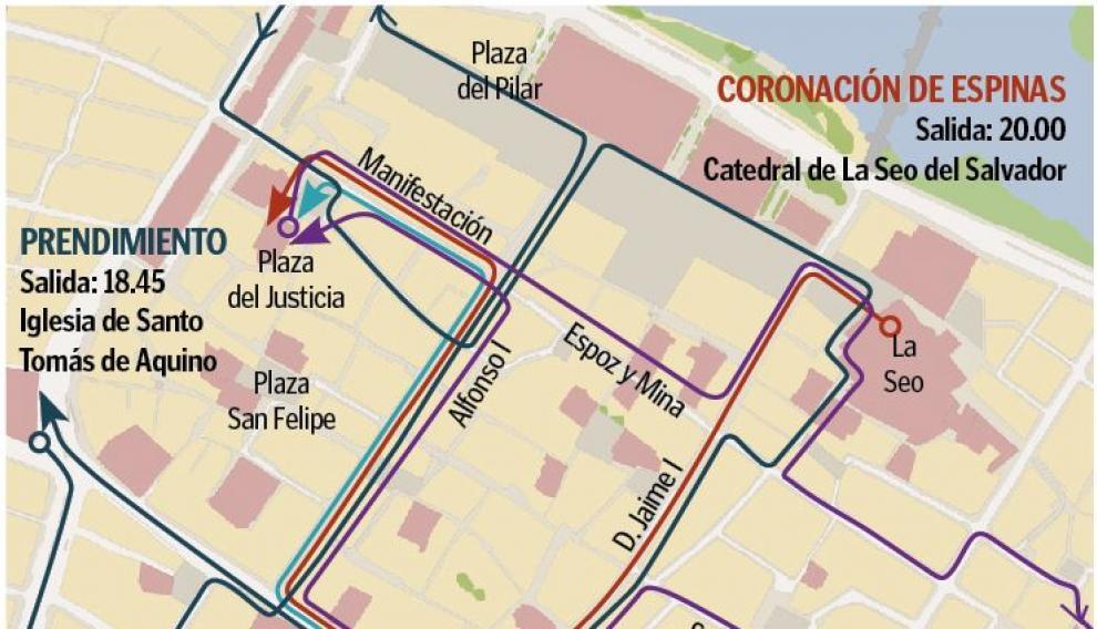 Mapa con el recorrido de las procesiones de Jueves Santo en Zaragoza