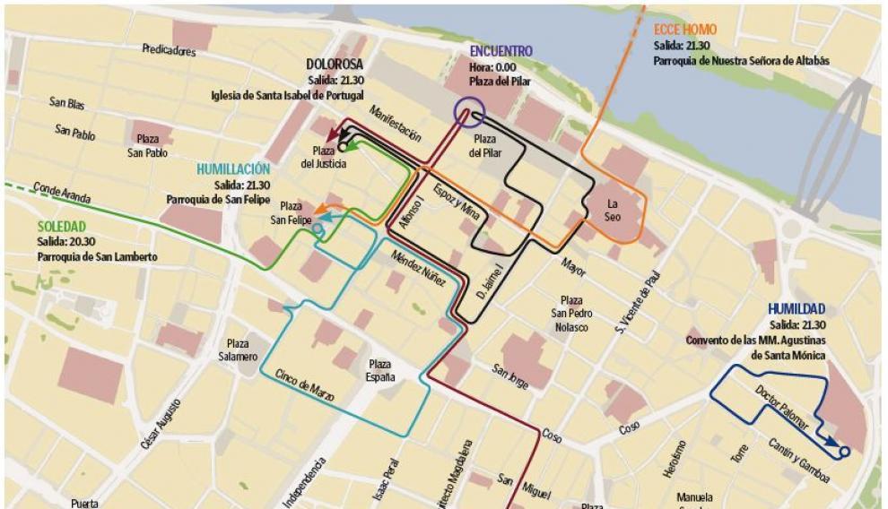 Mapa con el recorrido de las procesiones de Miércoles Santo en Zaragoza