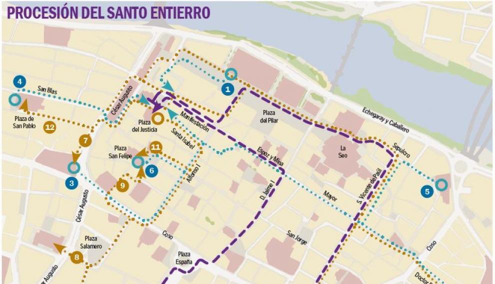 Mapa con el recorrido de las procesiones de Viernes Santo en Zaragoza