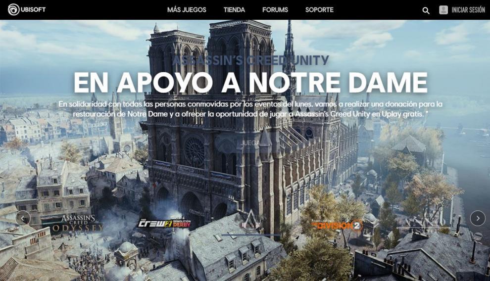 Ubisoft muestra su apoyo a Notre Dame permitiendo la descarga gratuita del videojuego.