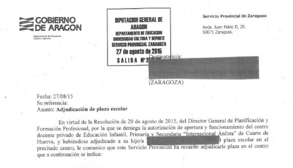 Carta enviada por el Gobierno de Aragón a los alumnos del colegio Ánfora para decirles que se ha denegado el centro y han adjudicado una plaza en otro.