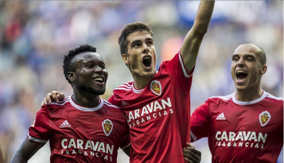 Últimos minutos del 0-4 logrado por el Real Zaragoza en Oviedo en septiembre: Soro acaba de redondear el marcador en el Tartiere.