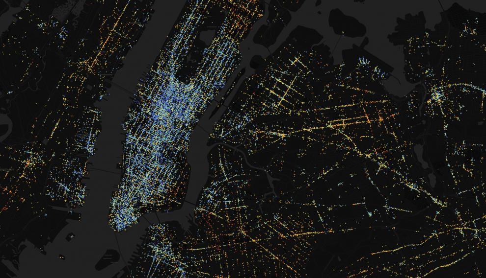 Atlas de la Desigualdad de la ciudad de Nueva York. Manhattan, llena de puntos azules, es la zona con mayor diversidad de la ciudad. MIT Media Lab