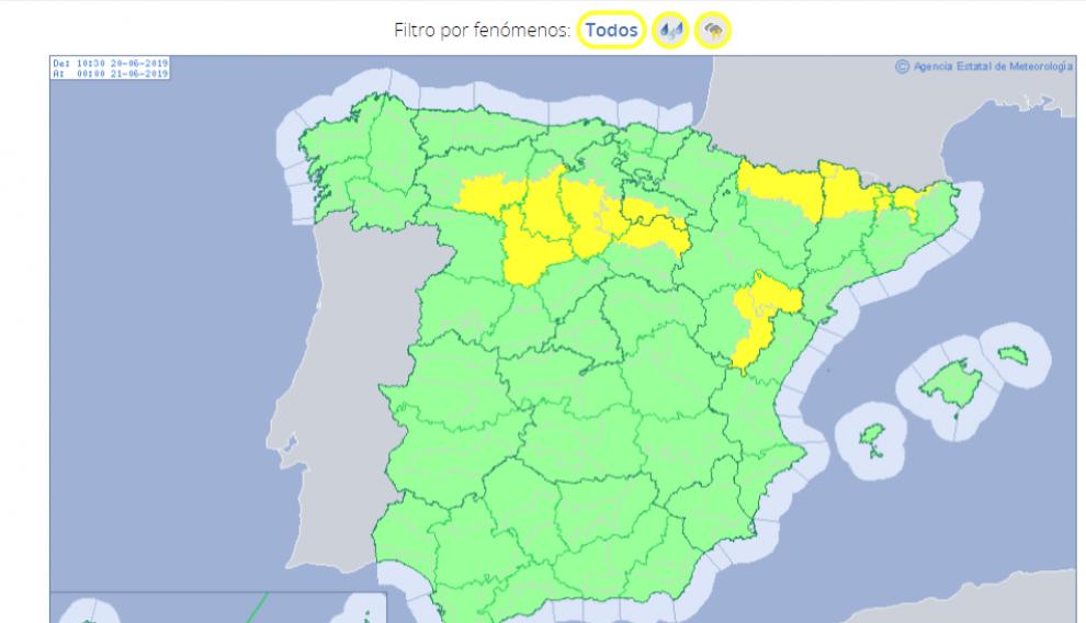 Mapa con prealerta amarilla por lluvias y tormentas para este jueves en algunos puntos de Huesca y Teruel