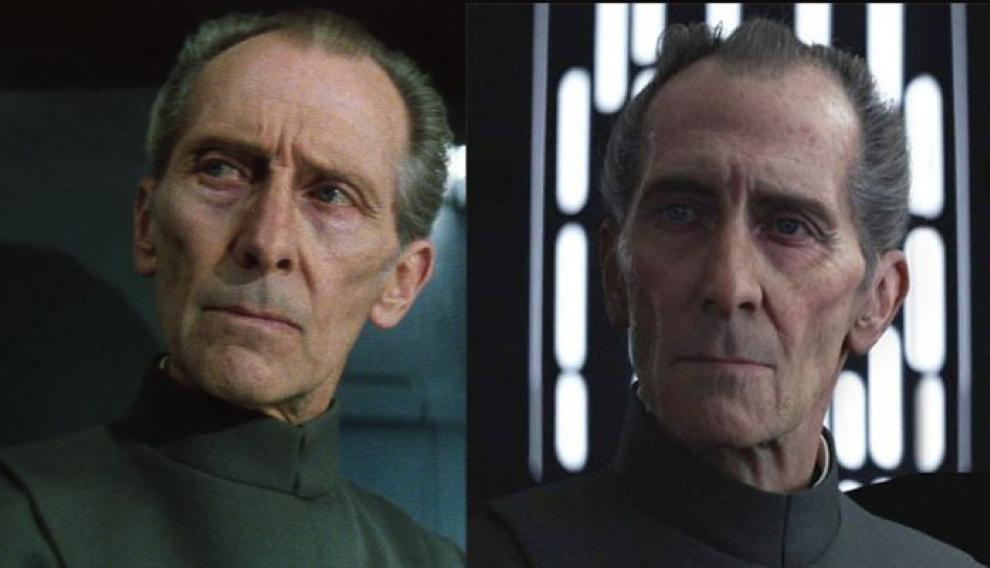 A la izquierda, Peter Cushing en la película de 1977. A la derecha, su recreación por ordenador de 2016.