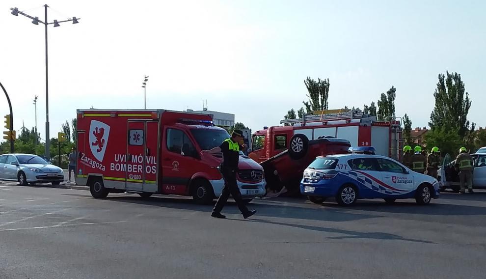 Una imagen del lugar del accidente, en la avenida de la Ciudad de Soria.