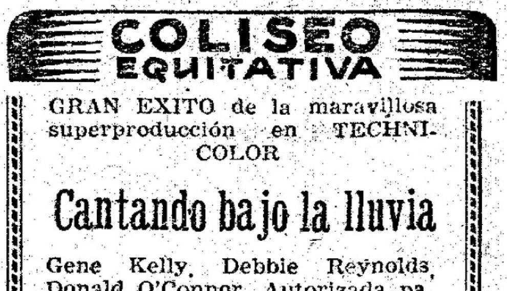 Anuncio del filme 'Cantando bajo la lluvia', en las páginas de HERALDO, en 1953