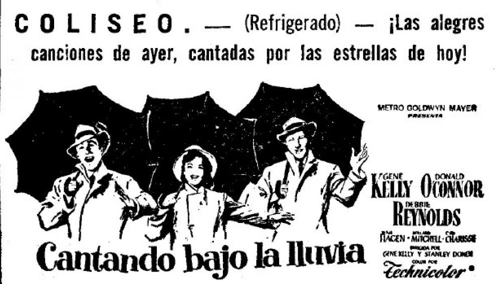 Anuncio del reestreno de 'Cantando bajo la lluvia' en el cine Coliseo, en los años 60