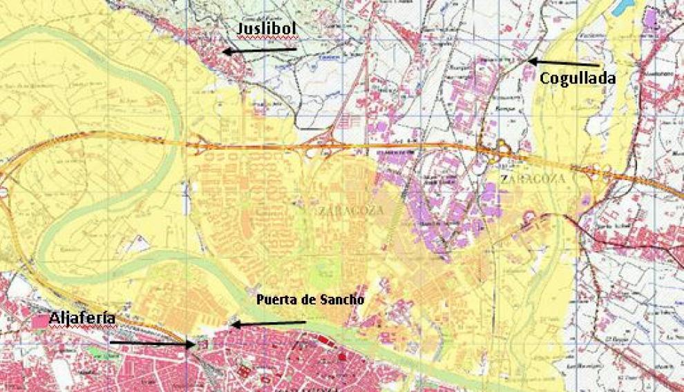 Zona inundable para el periodo de retorno de 500 años en el entorno de Zaragoza sobre mapa topográfico nacional con varias referencias ce los lugares a los que llegó la avenida de 1775.