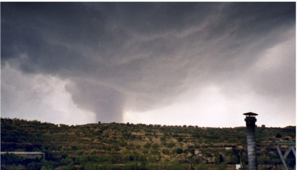 El tornado que en 2002 afectó a Alcañiz, Valdealgorfa y Mazaleón.