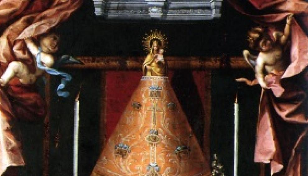 """Pinturas del siglo XVII que muestran la diferente colocación de los mantos de la Virgen del Pilar"""""""