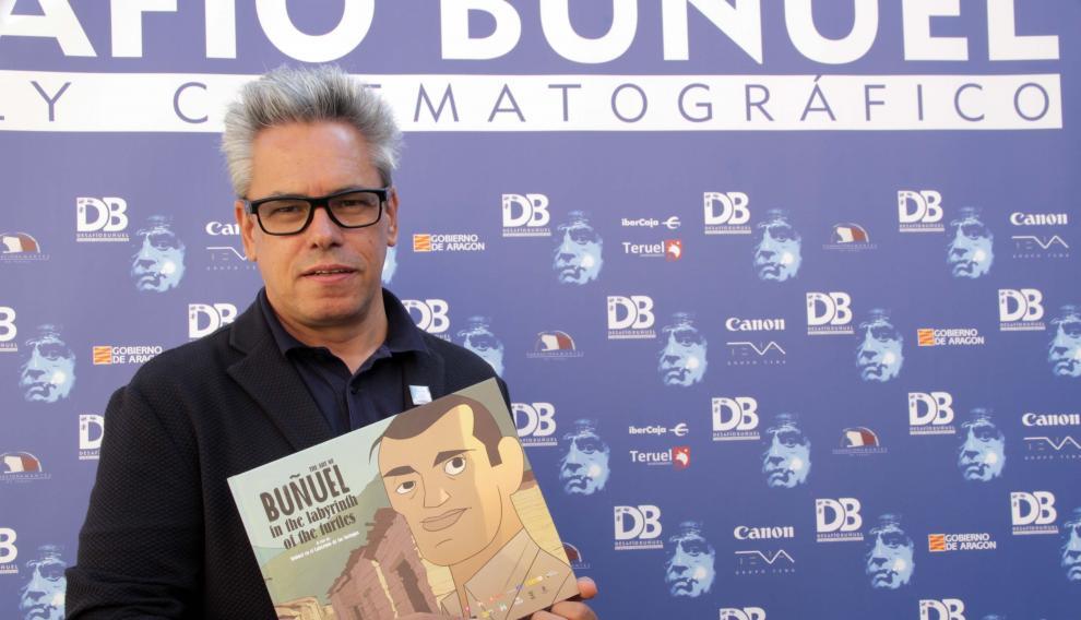 Manuel Cristóbal, productor de 'Buñuel en el laberinto de las tortugas', preseleccionada para los Óscar, en Teruel.