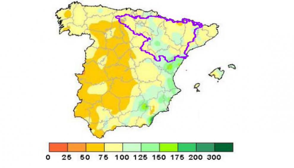 Porcentaje de lluvia caída en el último año hidrológico (del 1 de septiembre de 2018 al 31 de agosto de 2019) respecto a los valores normales.