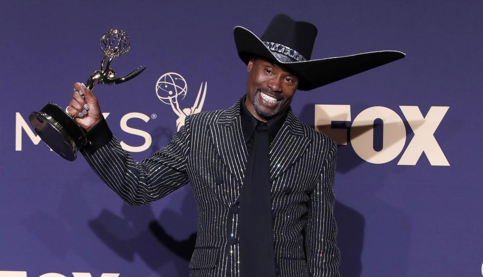 El actor Billy Porter tras recoger el premio a Mejor Actor de una serie dramática en la ceremonia de los Emmy.
