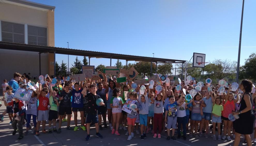 Acto celebrado en el colegio de Valdespartera este viernes, con motivo de la Semana del Clima.