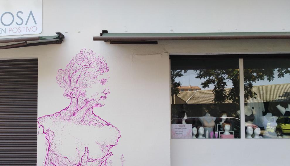El mural que acaba de pintar Adrián Pereda en Rosa en Positivo.